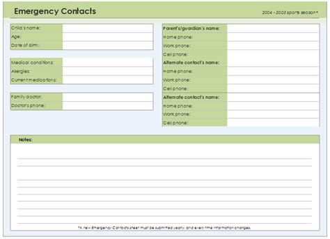 contact card template excel emergency contact form template for every field