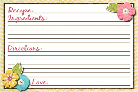 Fillable Recipe Card Template by Daily Free Printable Classic 4 215 6 Recipe Card