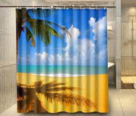 tropical palm tree yellow sand cloud custom shower