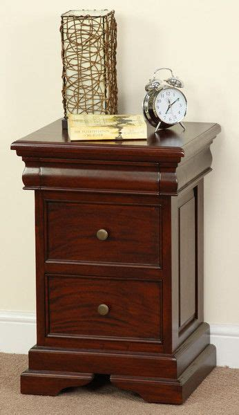 sleigh solid mahogany  drawer bedside table bedroom furniture home  drawer bedside table