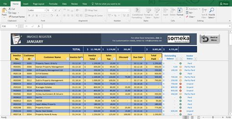 Invoice Tracking Spreadsheet Template