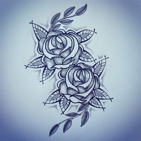 new traditional roses tattoo sketch by ranz pinterest