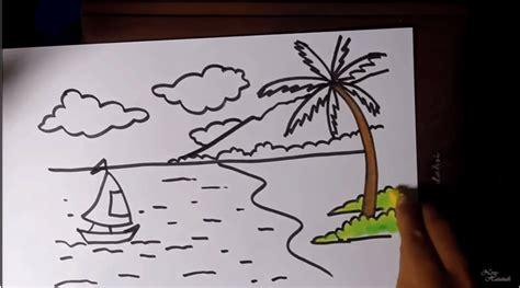 tutorial menggambar lukisan gambar menggambar pantai krayon pemula pemandangan alam