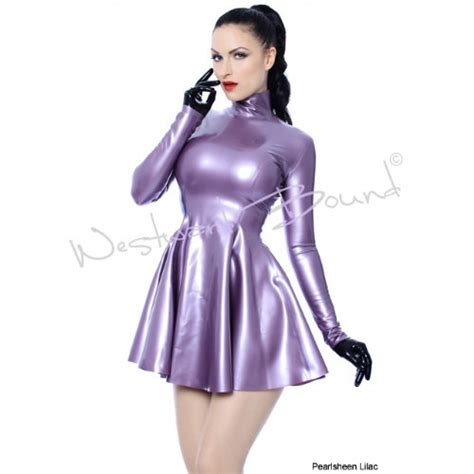 Rubber Latex Polo Swing Dress Long Sleeves With Zip Back R480