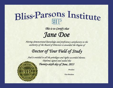 phd diploma template sle phd bliss parsons institutebliss parsons institute