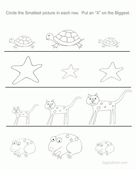 printable art worksheets for preschoolers biggest and littlest preschool worksheet ziggity zoom