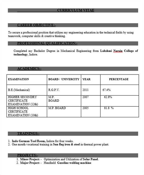 mechanical engineering fresher resume format free 40 fresher resume exles