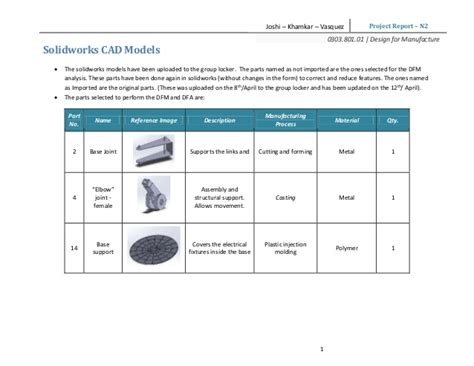 Design For Manufacturing Report | design for manufacturing assembly report table l