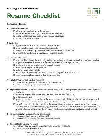 Resume Skills Examples For Students by Resume Critique Checklist