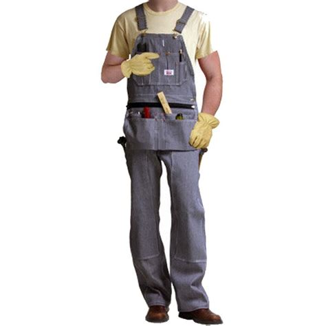 round house overalls round house carpenter hickory stripe denim bib overall w zip off pouch all seasons