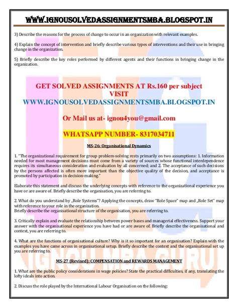 Ignou Assignment Mba July 2017 by Ignou Mba Solved Assignments July Dec 2017