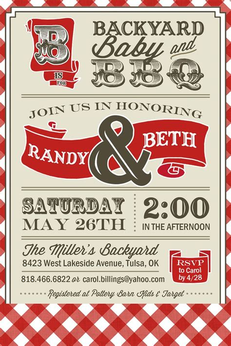 printable couples bbq baby shower invitation digital - Free Printable Bbq Baby Shower Invitations
