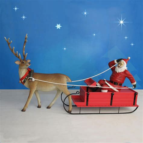 outdoor santa and sleigh 115 quot yab designs outdoor santa sleigh reindeer