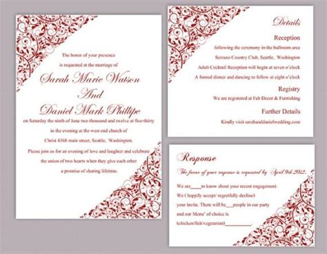 wedding invitations free templates for word diy wedding invitation template set editable word file