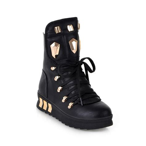 cheap winter toe rivets decorated lace up wedge mid