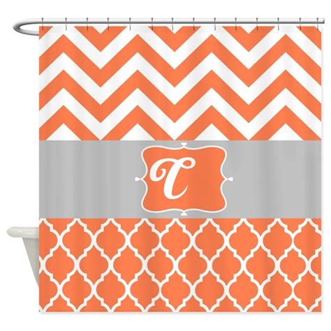 coral and gray shower curtain coral and gray design shower curtain by laughoutlouddesigns1
