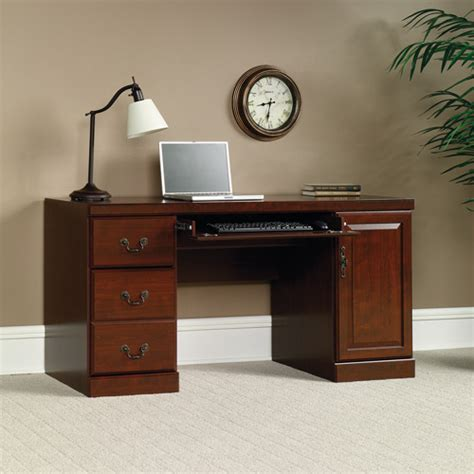 sauder heritage hill computer credenza desk classic