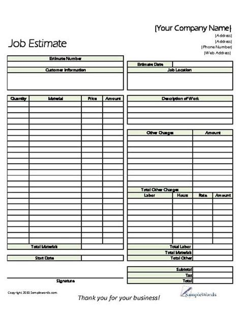 contractor estimate templates estimate printable forms templates proposals free