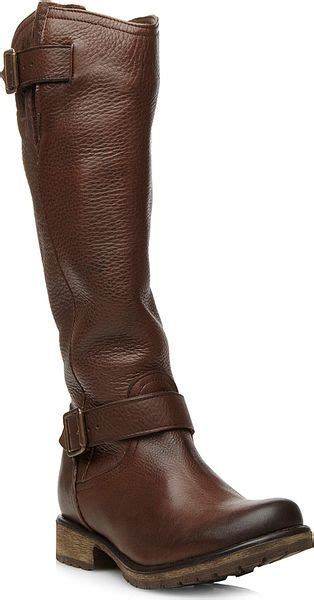 steve madden knee high boots steve madden fairport leather knee high boots in brown lyst