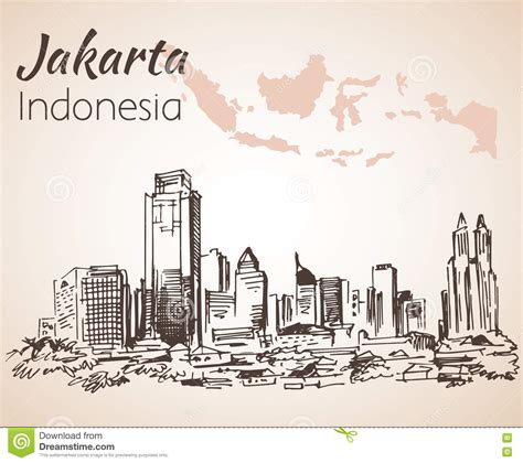 Pisau Royalty Line Di Indonesia jakarta cityscape sketch with map stock vector image 80087484