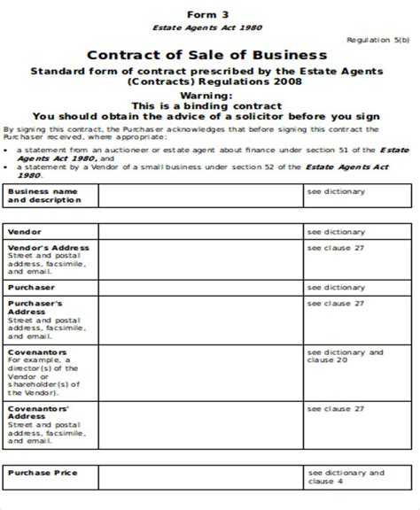 sle sales agreement contract 9 exles in word pdf