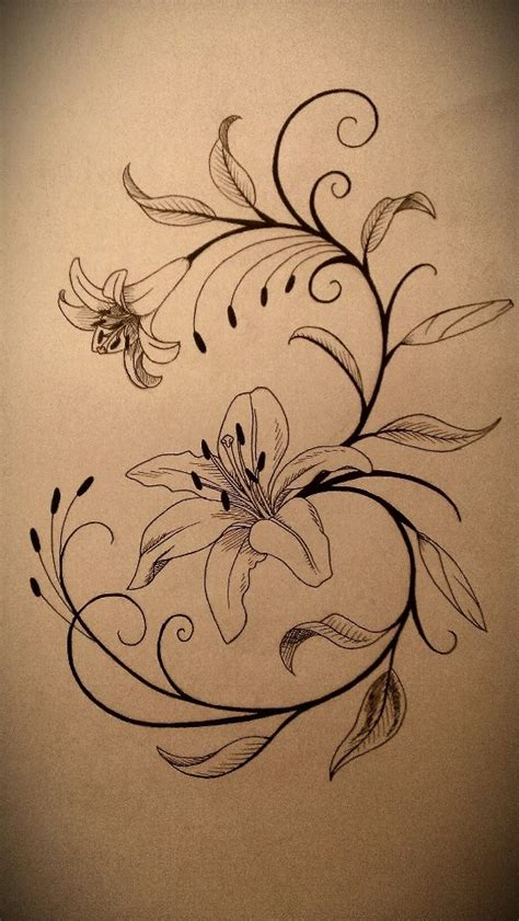 small lily tattoo designs black and white tattoos photos