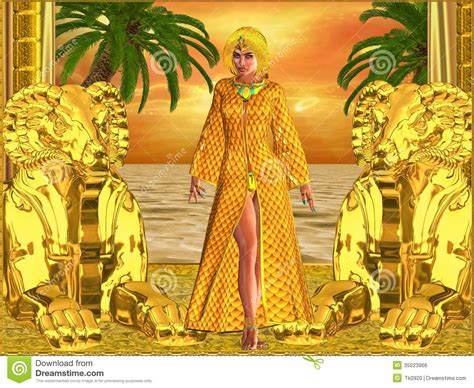 egyptian royal woman standing stock illustration