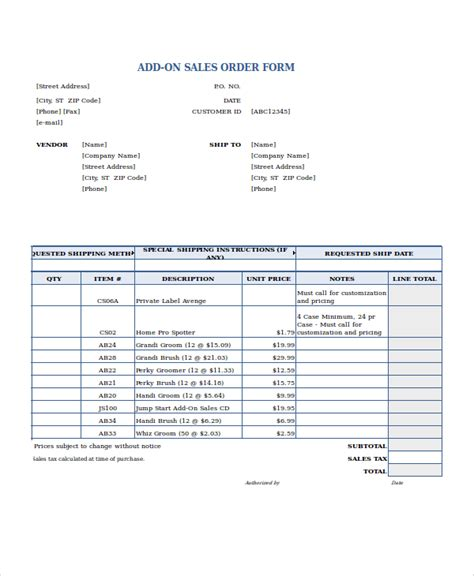 sales order template rev101 1