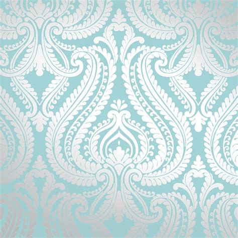 Blue Patterned Wallpaper Uk | i love wallpaper shimmer damask metallic wallpaper teal