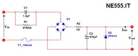 alimentatore senza trasformatore da alta a bassa tensione senza trasformatore ne555