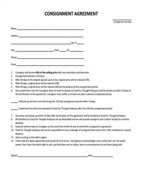 consignment agreement template free 10 consignment agreement form sles free sle