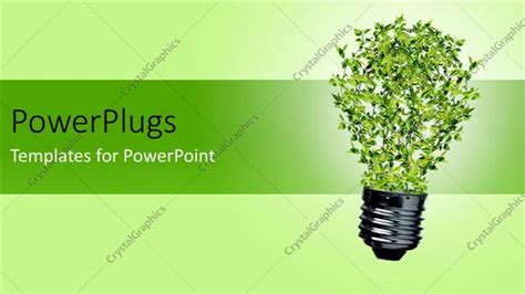 Powerpoint Template Green Bulb With Leaves As A Symbol Of Energy And Nature Depicting Recycle Green It Concept Ppt