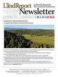 Newsletter Report Land Report September 2014 Newsletter The Land Report