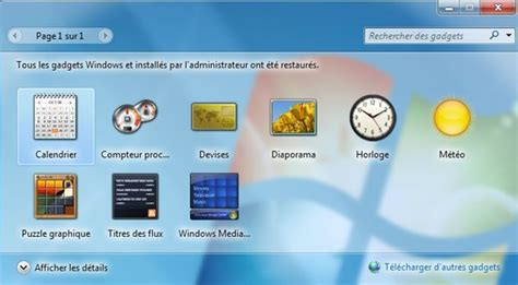 gadgets du bureau restaurer les gadgets du bureau install 233 s avec windows