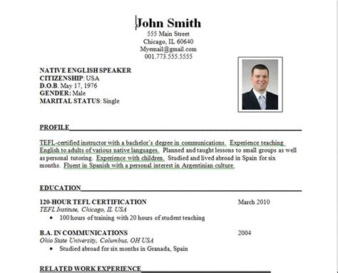 Work Resume Template by 17 Best Images About Teaching Esl Abroad On