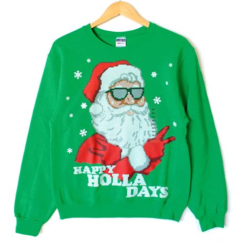 To Sweater Happy happy holla days cool santa sweater style sweatshirt the sweater shop