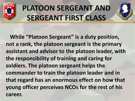 section sergeant duties ppt duties responsibilities and authority of the nco