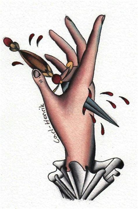 tattoo hand flash dagger in hand traditional tattoos pinterest hands