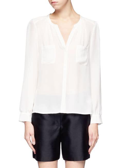 white sheer silk blouses for women whistles sylvia sheer silk blouse in white lyst