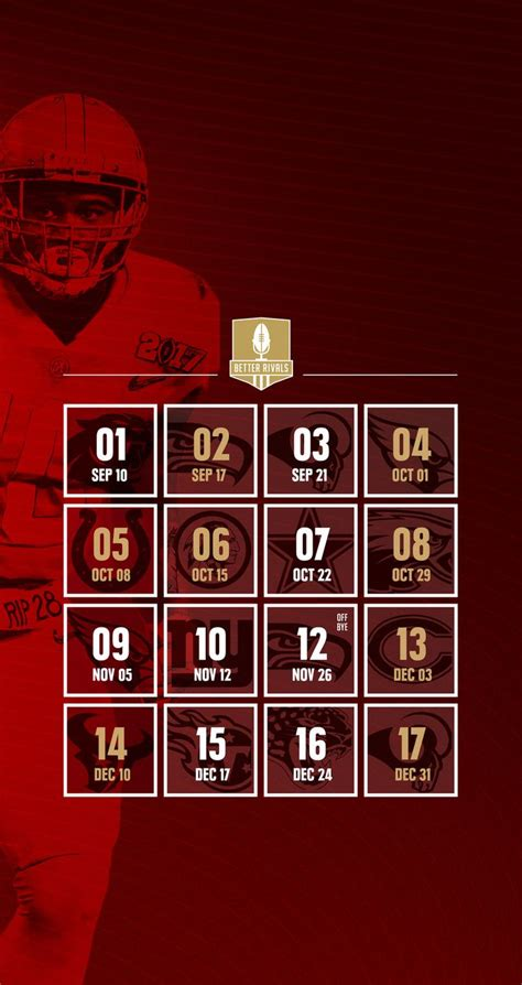 Calendario 49ers 49ers 2017 Schedule Wallpapers For Iphone Android