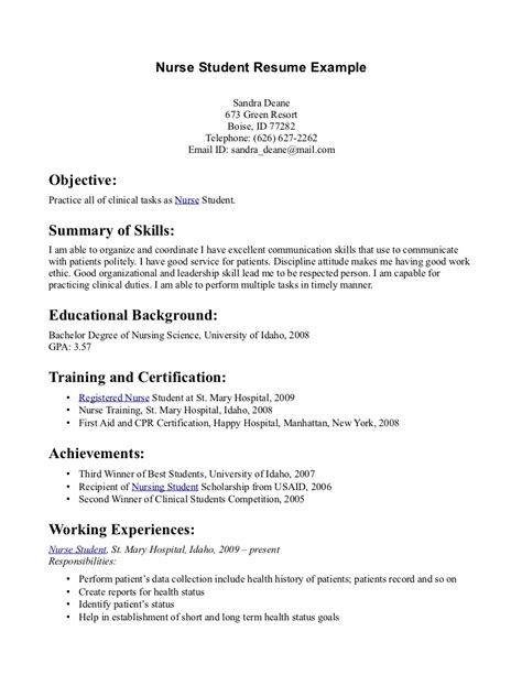 sample high student resume example nurse student