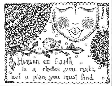 printable art therapy for adults free coloring page 171 coloring adult proverb about heaven
