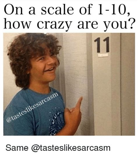 Are You Crazy Meme - on a scale of 1 10 how crazy are you likesarcasm same