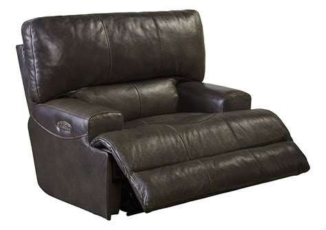 Lay Flat Recliner by Jarons Wembley Chocolate Top Grain Leather Power Headrest