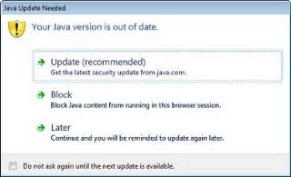 why do i see the java update needed message: java is out