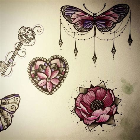 simple tattoo gem butterfly flower jewels draw nina tattoo pink purple