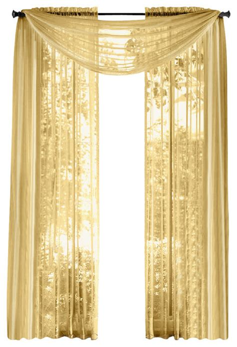 Sheer Gold Curtains Hlc Me Pair Of Sheer Panels Window Treatment Curtains Gold Traditional Curtains By Home