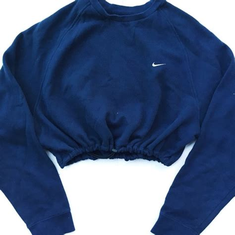 Crop Hoodie Jumper Jaket Nevy reworked nike raglan crop sweatshirt navy liked on