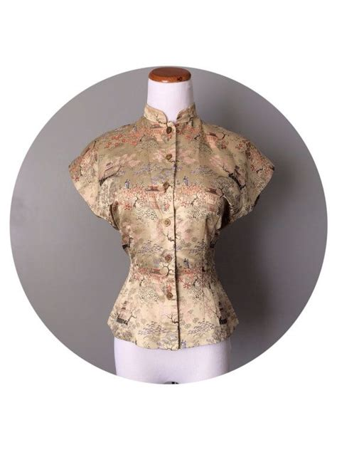 Tree Collar Top Diskon vintage 1950s 60s asian blouse mandarin collar antique button top landscape tree embroidery
