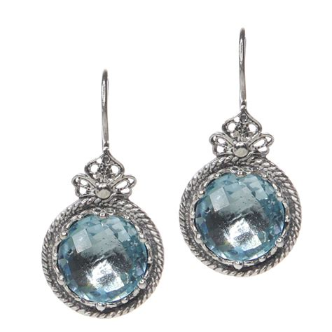 Handcrafted Silver Earrings - sterling silver handmade crown blue topaz earrings